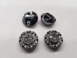 Plastic Metal Grey Fancy Button