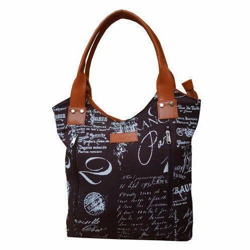 59ad19387111 Spice Art Black And Tan Ladies Printed Canvas Handbags