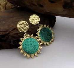 GOLD PLATED GLITTER SHINING EARRING