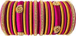 Pink and Golden Silk Thread Bangle Set