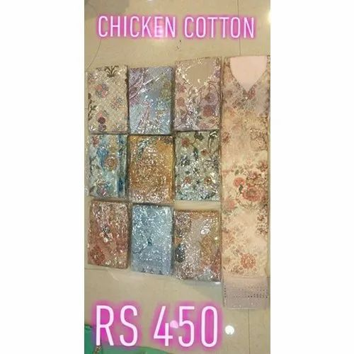 Party wear Embroidered Ladies Chicken Cotton Suits
