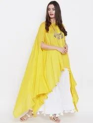 3/4Th Sleeves Western Indian Ethnic Designer Yellow Poncho Top, Size: Free