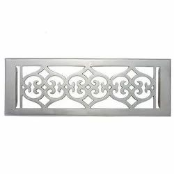 Flower Brass Wall Register with Louver - 4inch x 14inch (5-1/2inch x 15-5/8inch Overall)