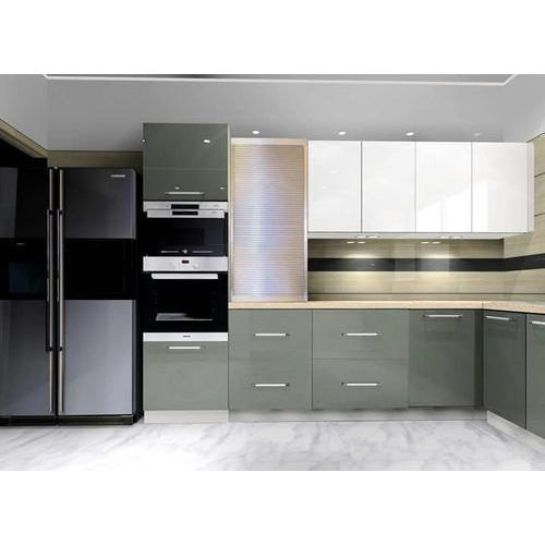 Grey And White Modular Kitchen Rs 2200 Square Feet Matrishakti Enterprises Private Limited Id 19034030155