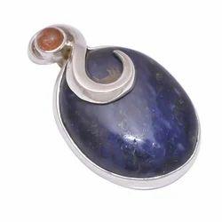 Sodalite/Sunstone 925 Sterling Silver Pendant