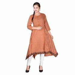 Jaipuri Printed Flayred Cotton Kurti