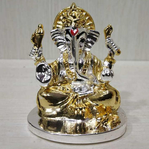 Gold And Silver Color Car Dashboard Ganesh Idol Rs 300 Piece Id