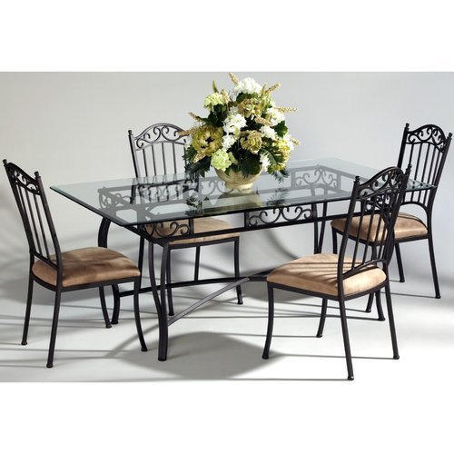 Black Wrought Iron Dining Table Set