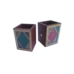 Wooden Gemstone Pen Holder