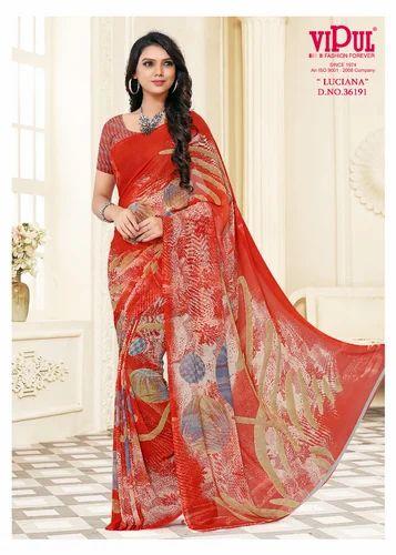 beac46f926 Georgette Printed Saree, Length: 6 M, Rs 4878 /piece, Om Sai Fashion ...