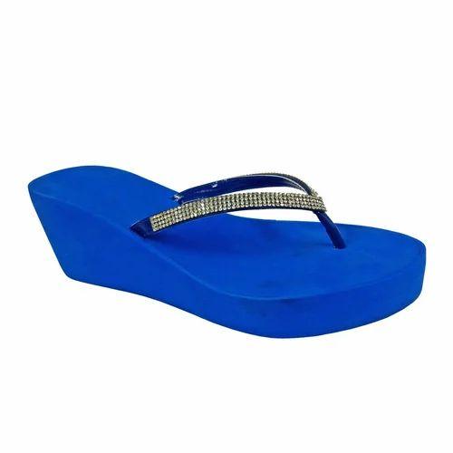 Royal Blue Wedges Sandals, Size: 36-41