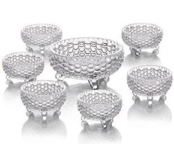 Pineapple Shaped Crystal Glass Bowl Set of 7 Glass