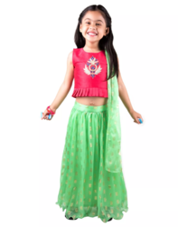 Silk Embroidered Foil Print Lehnga Choli For Girls - Pink & Green