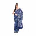 Ladies Blue Chanderi Silk Printed Saree