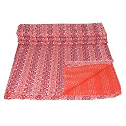 Indian Handmade Ethnic Floral Bedspread Cotton Fabric Kantha Quilt for Home Hotel