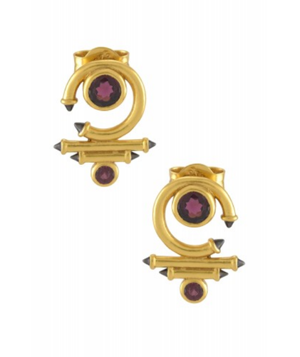 caaa83d5b780cb Amrapali Gold Plated Garnet Round Curved Taveez Ear Studs ...
