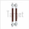GLASS DOOR HANDLE- H Shape Wood & Stainless Steel Designer Glass Door Handle