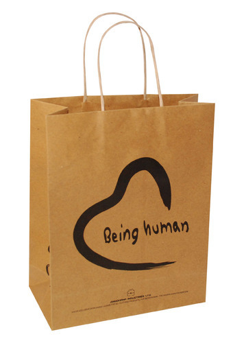 Paper Brown Printed Carry Bags, For Shopping