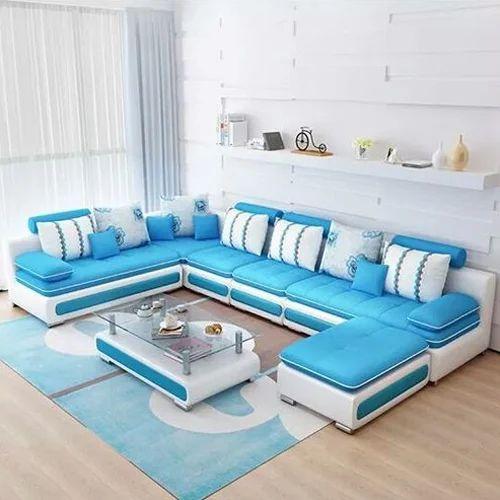 Wood White And Sky Blue Modern Sofa Set