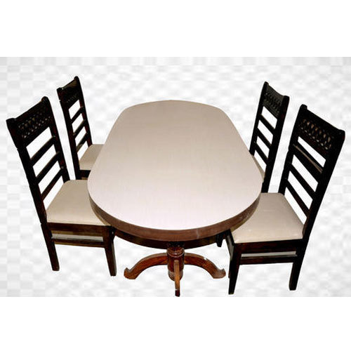 Light Brown 54 X 36 Inch Dining Table With 4 Chair Set