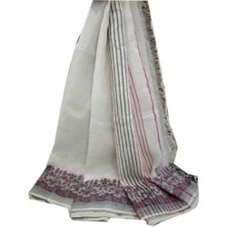 Formal Wear Printed Linen Jacquard Dyeable Greige Saree, 6.5 M With Blouse Piece