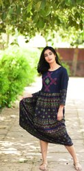 Rayon Embroidery Anarkali Kurtis