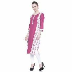 Casual Wear 3/4th Sleeve Straight Rayon Kurti, Wash Care: Handwash