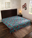 Turquoise and Green Bird Printed Kantha Work Bed Sheet