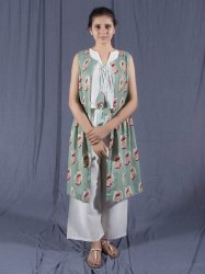 Three Piece Cotton Kurti Set, Indian Dress, Sleeveless Dress, Palazzo Linen Pants