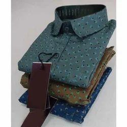 Casual Wear Cotton Mens Slim Fit Printed Shirt