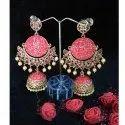 Hanging Brass And Beads Modern Jhumka Earrings