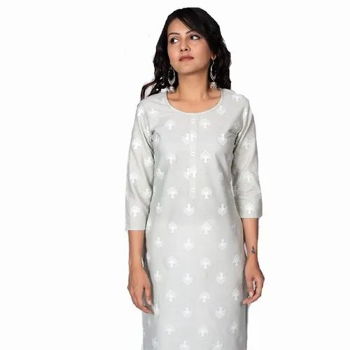 3/4th Sleeve Casual Wear Philauri White Basic Cotton Printed Straight Kurti, Age Group: 16-44
