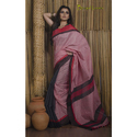 Half And Half Khadi Soft Cotton Saree In Red And Black