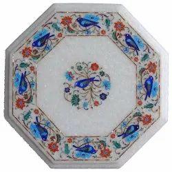 Inlay White Semi Precious Stone Lapis Table Top