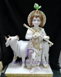 Marble Krishna Statue With Cow For Temple