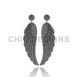 Silver Diamond Feather Earrings