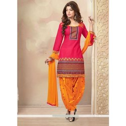 Stitched Ladies Cotton Punjabi Unstitched Suit, Machine and Hand Wash