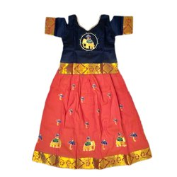 Girl Silk Embroidered Pattu Pavadai