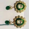 Green Enameled Handmade Moissanite Polki Stud Earring