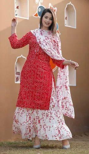 New Rayon Bandhej Kurti With Skirt And Chiffon Dupatta