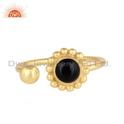 18k Gold On 925 Silver Black Onyx Gemstone Flower Statement Ring