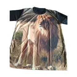 Round Neck Printed Casual T Shirt, Size: M-XL