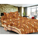 Printed Brown Cotton Bed Sheet