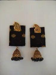 German Silver Handloom Cloth Fabric Earrings