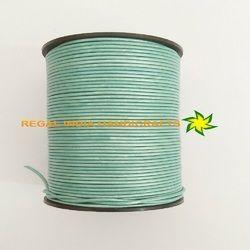 Green Mosaic Metallic Round Leather Cord