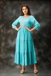 Formal Wear Rayon Slub Embroidered Straight Long Kurtis