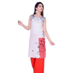 Printed Casual Wear Ladies Sleeveless Cotton Kurti, Size: S-XXL