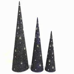 Christmas Decor Ideas Gold Glitter And Mirror Work Cone For Xmas