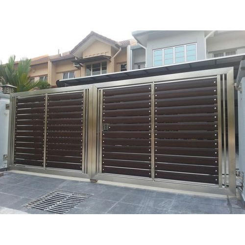 Stainless Steel Modern House Gate Designs: Brown, Metallic Silver Color SS Modern Gate, Rs 450