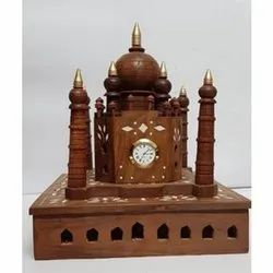 Brown Antique Wooden Carved Taj Mahal, for home decoration